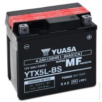 Yuasa YTX5LBSCP - Batería moto YTX4L-BS Yuasa 12v 3Ah Maintenance Free